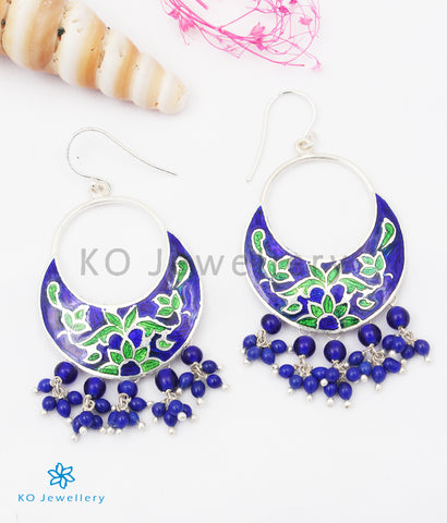 The Chand Silver Meenakari Earrings (Blue/Green)