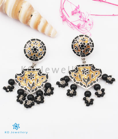 The Rutvi Silver Meenakari Earrings (Black/Gold)