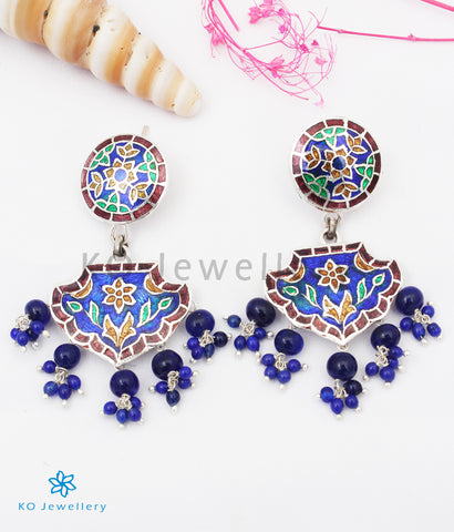 The Rutvi Silver Meenakari Earrings (Blue)