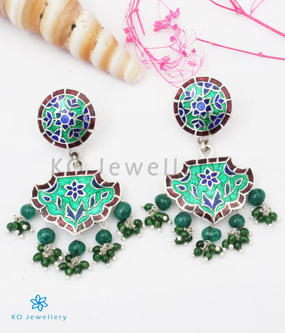 The Rutvi Silver Meenakari Earrings (Green)