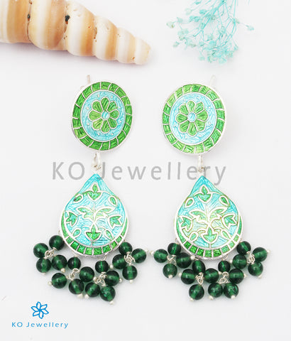 The Chittara Silver Meenakari Earrings (Green)