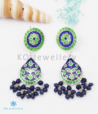 The Chittara Silver Meenakari Earrings (Green/Blue)