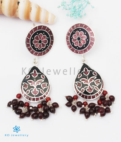The Chittara Silver Meenakari Earrings (Black/Brown)