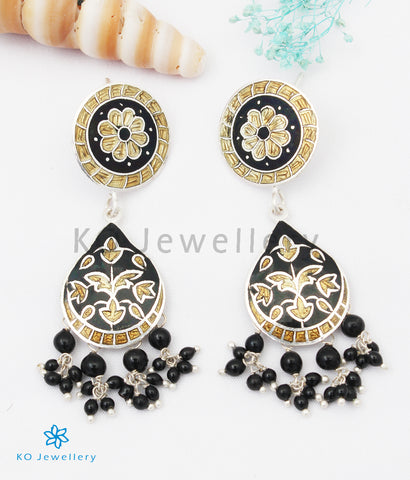 The Chittara Silver Meenakari Earrings (Black/Gold)