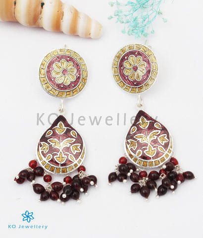 The Chittara Silver Meenakari Earrings (Brown/Gold)