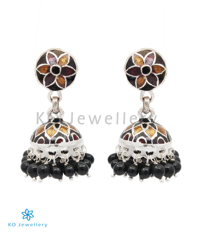 The Abhiri Silver Meenakari Jhumka (Brown)