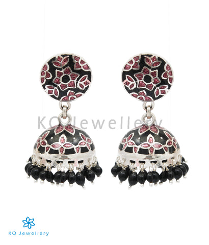 The Basant Silver Meenakari Jhumka (Brown/Black)