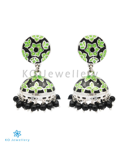 The Basant Silver Meenakari Jhumka (Green/Black)