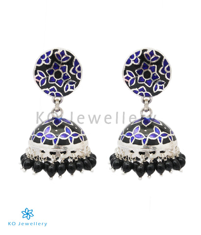 The Basant Silver Meenakari Jhumka (Blue/Black)