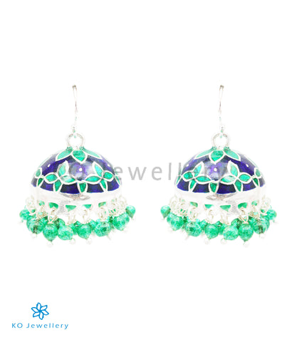 The Sanjh Silver Minakari Jhumka(Green/Blue)
