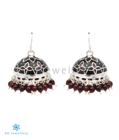 The Sanjh Silver Minakari Jhumka(Brown/Black)