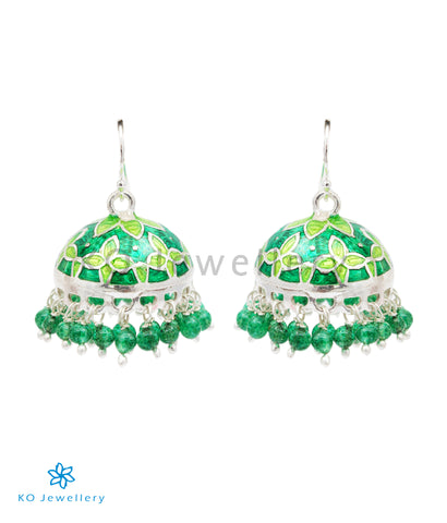 The Sanjh Silver Minakari Jhumka(Green)