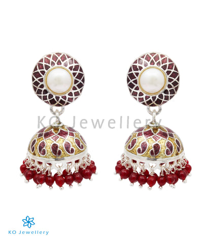 The Ghazal Silver Meenakari Jhumka (Brown/Gold)