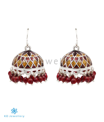 The Zeenat Silver Minakari Jhumka(Brown)