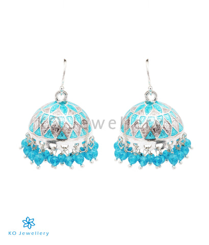 The Zeenat Silver Minakari Jhumka(Blue/White)