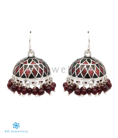The Zeenat Silver Minakari Jhumka(Black/Brown)
