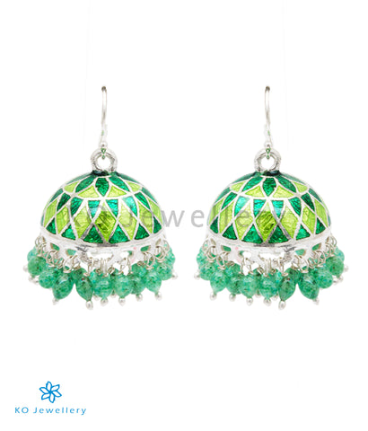 The Zeenat Silver Minakari Jhumka(Green)