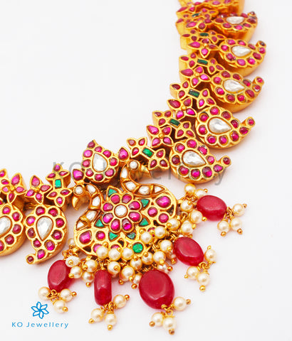 The Bahaar Silver Kundan-Jadau Peacock Necklace