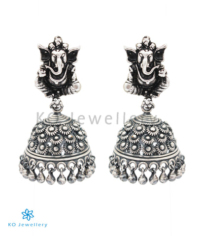 The Kshipra Silver Ganesha Jhumki (Oxidised)