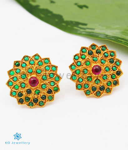 The Aikya Silver Ear-studs (Green)