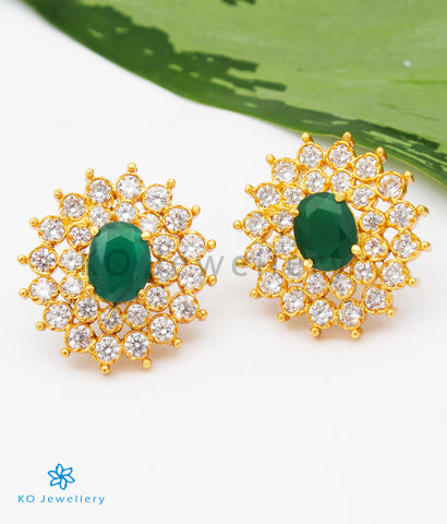 The Sharva Silver Ear-studs (Green)