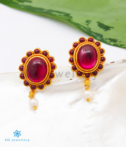 The Siya Silver Earstuds (Red)