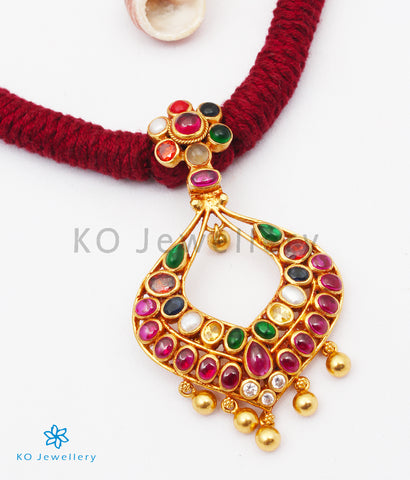 The Sujati Silver Navratna Thread Necklace