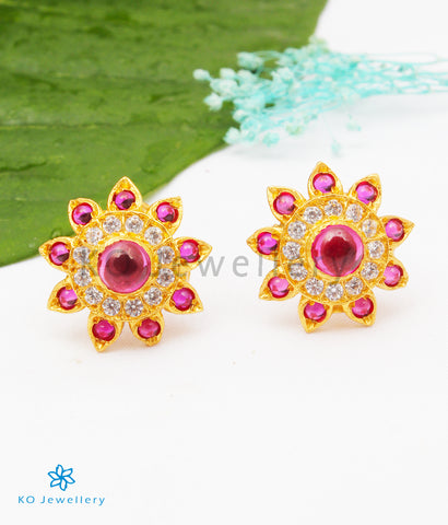 The Abhilasha Silver Ear-studs (Red)