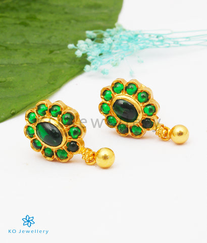 The Vamshika Silver Earstuds (Green)