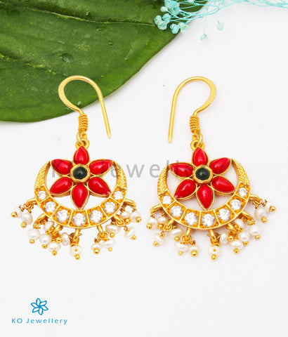 The Sindhura Silver Earrings (Coral)