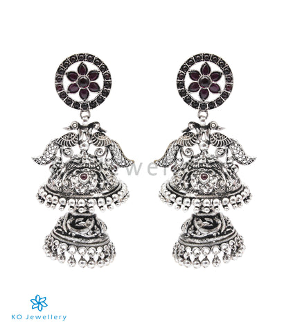 The Shringara Silver Peacock Jhumka