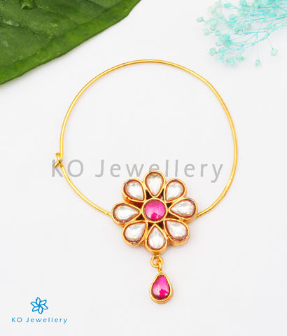 The Phool Silver Kundan Nose Pin (Pierced/White)
