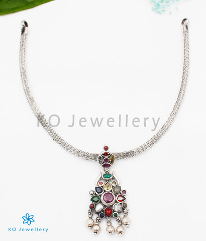 The Raaga Silver Navratna Necklace (Oxidised)