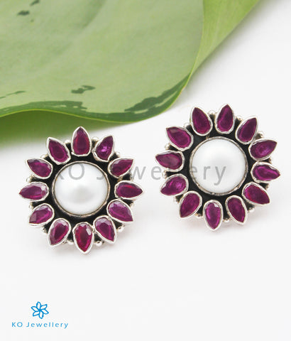 The Anupa Silver Gemstone Earrings (Red/White)