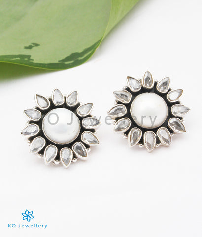 The Anupa Silver Gemstone Earrings (White)