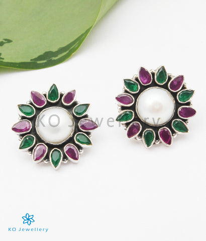 The Anupa Silver Gemstone Earrings (Red/Green/White)