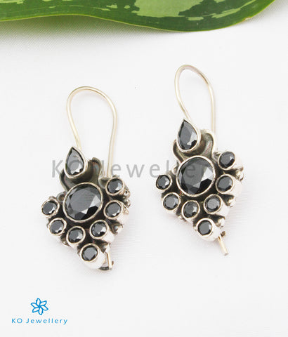 The Tanvi Silver Gemstone Earrings (Black)