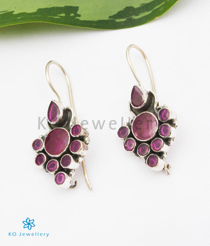 The Tanvi Silver Gemstone Earrings (Red)