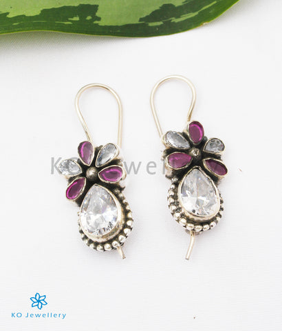 The Nitara Silver Gemstone Earrings (Red/White)