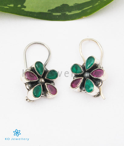 The Arini Silver Gemstone Earrings (Red/Green)