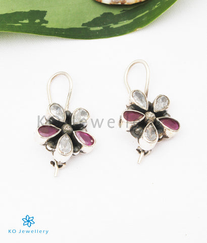 The Arini Silver Gemstone Earrings (Red/White)