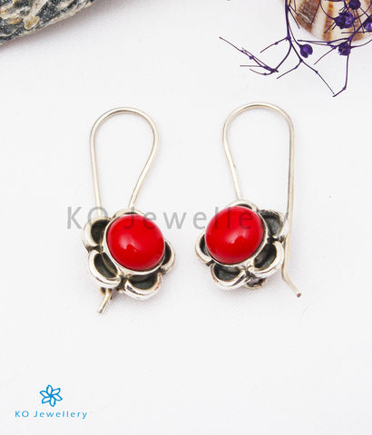 The Imaya Silver Gemstone Earrings (Coral)