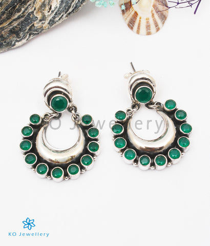 The Aishwarya Silver Gemstone Earrings (Green)