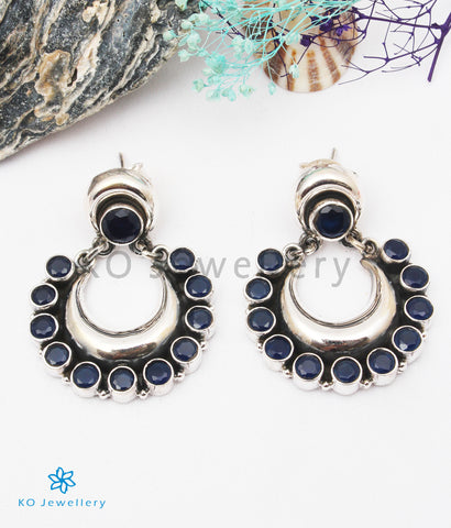 The Aishwarya Silver Gemstone Earrings (Blue)