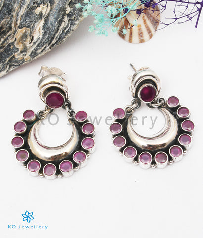 The Aishwarya Silver Gemstone Earrings (Red)