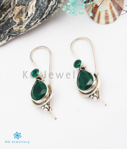 The Kyra Silver Gemstone Earrings (Green)