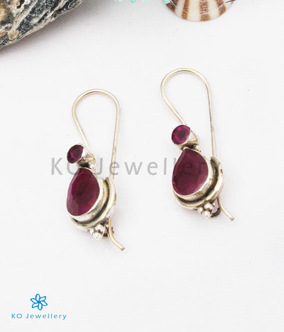 The Kyra Silver Gemstone Earrings (Red)