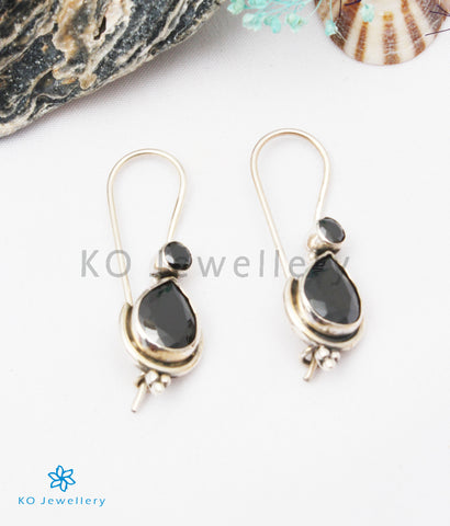 The Kyra Silver Gemstone Earrings (Black)