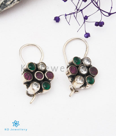 The Ila Silver Gemstone Earrings (White/Red/Green)
