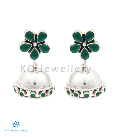 The Param Silver Gemstone Jhumkas (Green)